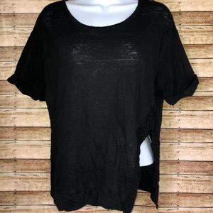 ZARA W&B Collection Black Semi Sheer Top Sz M